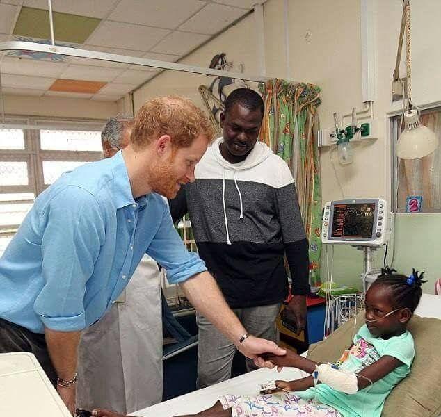 Prince Harry Meets - Wish Child Takara Straker visit to the children's Ward at the Queen Elizabeth Hospital.